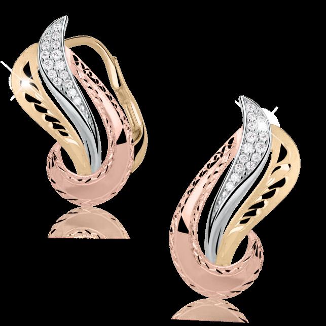 4e1030b80 Zlaté dámské náušnice DF 3111, briliantové, kombinace bílé, růžové a ...