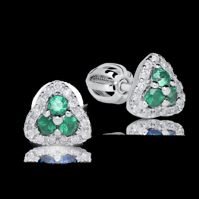 af3f854a3 Zlaté dámské náušnice DF 3264, smaragd s diamanty , bílé zlato ...