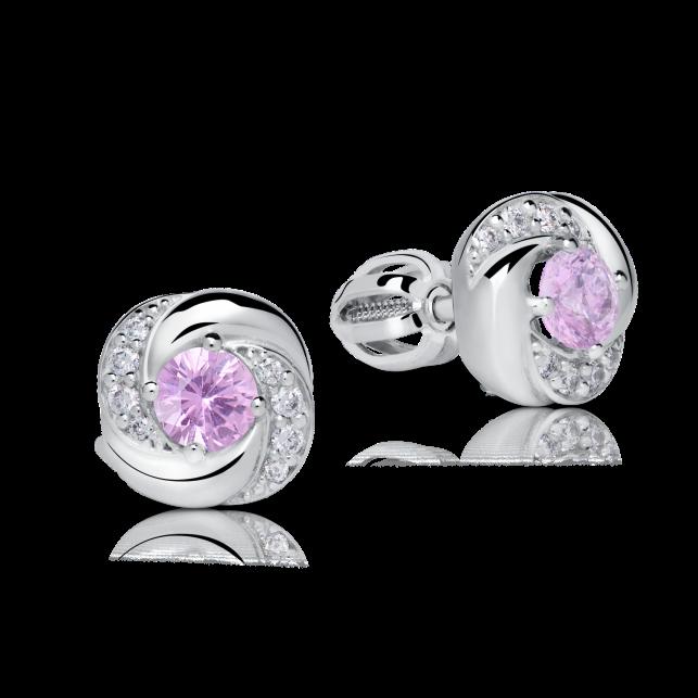 b9b08d0a1 Zlaté dámské náušnice DF 3265, růžový safír s diamanty , bílé zlato ...