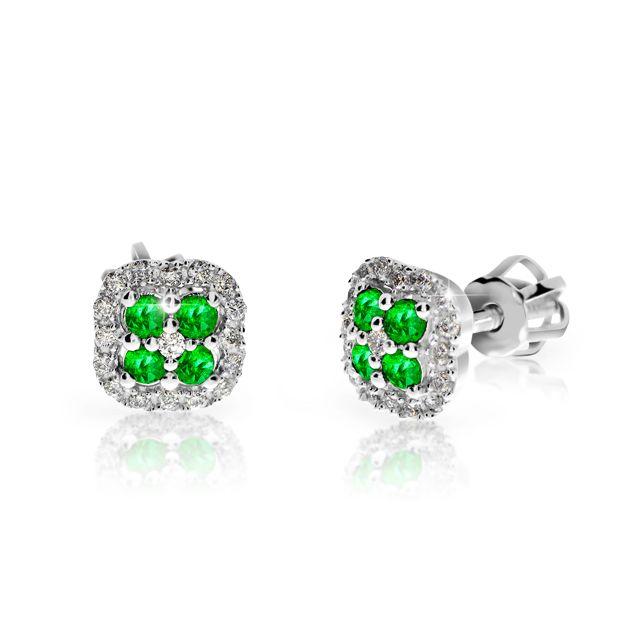 d72ee29a5 Zlaté dámské náušnice DF 3266, smaragd s diamanty , bílé zlato ...