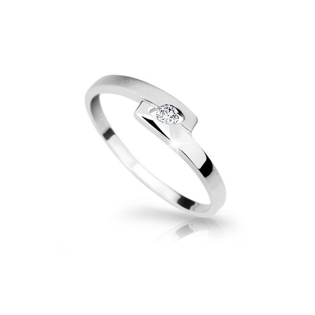4f0087e48 Zlatý prsten DF 1284 z bílého zlata, s briliantem | Brilianty.cz
