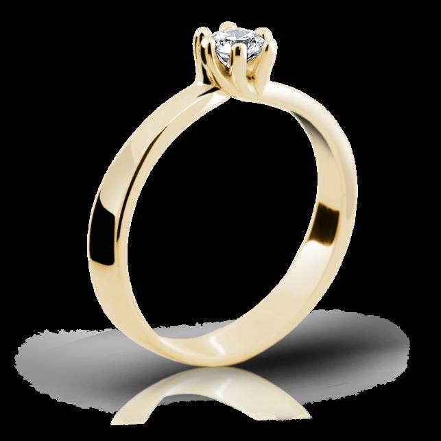 2104c4836 Zlatý prsten DF 1903 ze žlutého zlata, s briliantem | Brilianty.cz