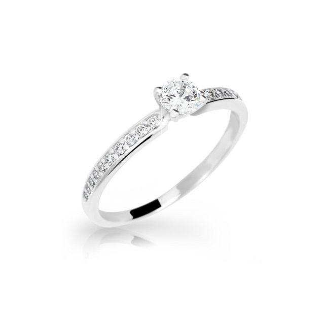 ca76dc94b Zlatý prsten DF 2523 z bílého zlata, s briliantem | Brilianty.cz
