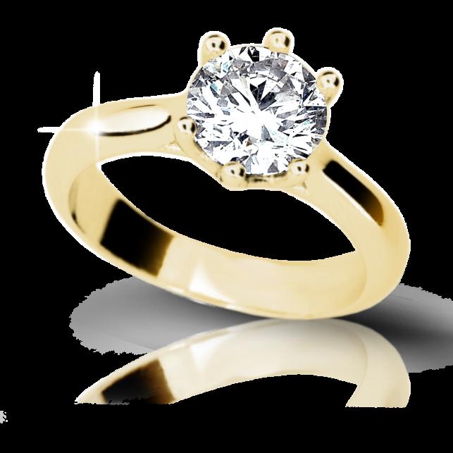 7aa876cbb Zlatý zásnubní prsten DF 1885, žluté zlato, s diamantem | Brilianty.cz