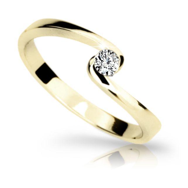 9f256ab68 Zlatý zásnubní prsten DF 1934, žluté zlato, s briliantem | Brilianty.cz