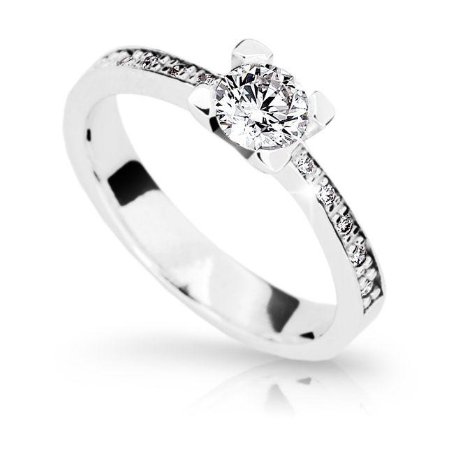 fcb4f7e9a Zlatý zásnubní prsten DF 1961, bílé zlato, s diamantem | Brilianty.cz