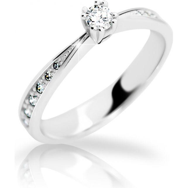4d1fd02ac Zlatý zásnubní prsten DF 2123, bílé zlato, s briliantem | Brilianty.cz