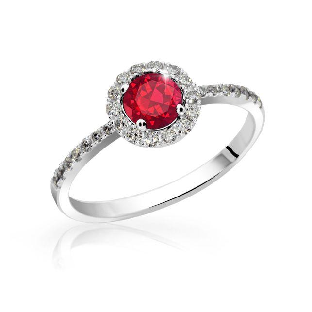 Zlaty Zasnubni Prsten Df 3098 Bile Zlato Rubin S Diamanty