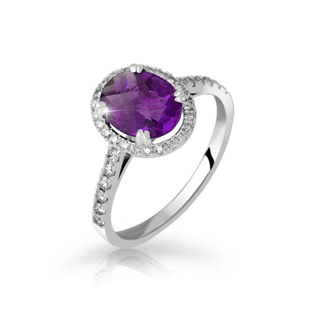 Zlaty Zasnubni Prsten Df 3365 Bile Zlato Ametyst S Diamanty