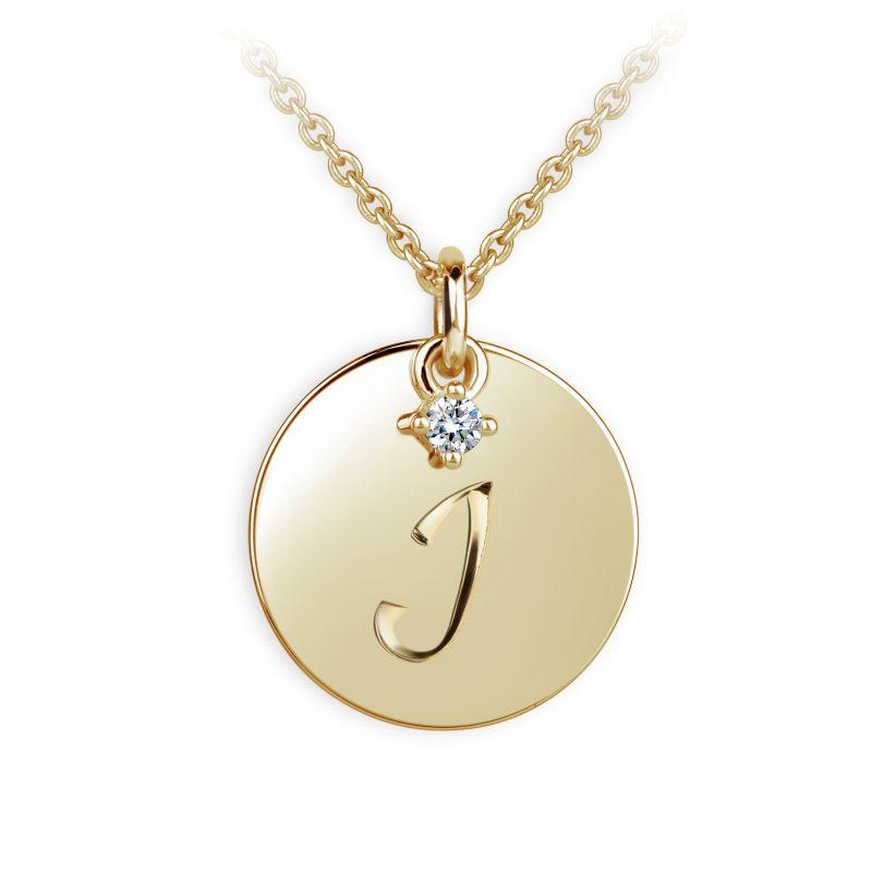 Danfil přívěsek placička DF P120 písmeno I, žluté zlato, s briliantem + Doživotní servis zdarma, Dárkové balení, Certifikát pravosti kamene