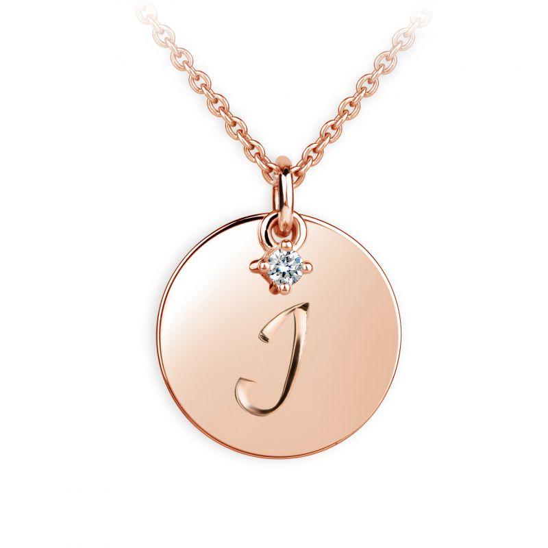 Danfil přívěsek placička DF P120 písmeno I, růžové zlato, s briliantem + Doživotní servis zdarma, Dárkové balení, Certifikát pravosti kamene