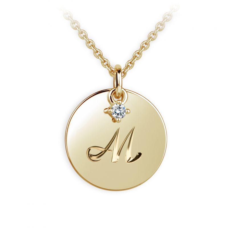 Danfil přívěsek placička DF P120 písmeno M, žluté zlato, s briliantem + Doživotní servis zdarma, Dárkové balení, Certifikát pravosti kamene