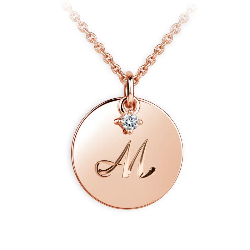 Danfil přívěsek placička DF P120 písmeno M, růžové zlato, s briliantem + Doživotní servis zdarma, Dárkové balení, Certifikát pravosti kamene