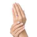 Zlatý zásnubný prsteň DF 2800, biele zlato, zafír s diamantmi