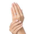Zlatý zásnubní prsten DF 3052, bílé zlato, safír s diamanty