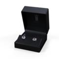 Zlaté dámské náušnice DF 3265, růžový safír s diamanty, bílé zlato
