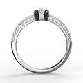 Zlatý dámský prsten DF 3190-1 z bílého zlata, black and white briliants