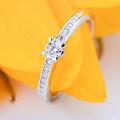 Zlatý zásnubný prsteň DF 4094, biele zlato, s briliantom