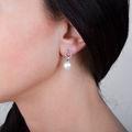 Zlaté perlové náušnice DF 3123, sladkovodní perly, bílé zlato