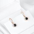 Zlaté dámske náušnice DF 3107, čierne diamanty, ružové zlato