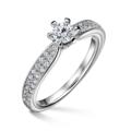 Florence Side Stones | Zásnubný prsteň so stredovým kameňom 0.25 ct, biele zlato, s diamantmi