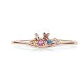 Zlatý dámsky prsteň DF 5039 z ružového zlata, farebné kamene