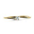 Zlatý zásnubní prsten DF 2943, žluté zlato, s briliantem