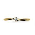 Zlatý zásnubný prsteň DF 2947, žlté zlato, s briliantom
