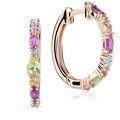 Zlaté dámské náušnice DF 4930, barevné kameny, růžové zlato