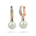 Zlaté perlové náušnice DF 2642, sladkovodní, růžové zlato