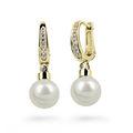 Zlaté perlové náušnice DF 2642, sladkovodní, žluté zlato