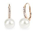 Zlaté perlové náušnice DF 3122, přírodní perly, růžové zlato