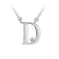 Zlatý dámský přívěsek DF 4509, písmeno D,  bílé zlato, s briliantem