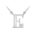 Zlatý dámský přívěsek DF 4510, písmenko E, bílé zlato, s řetízkem a briliantem