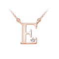 Zlatý dámský přívěsek DF 4510, písmenko E, růžové zlato, s řetízkem a briliantem
