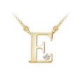 Zlatý dámský přívěsek DF 4510, písmenko E,  žluté zlato, s řetízkem a briliantem