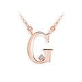 Zlatý dámský přívěsek DF 4512, písmenko G, růžové zlato, s řetízkem a briliantem