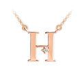 Zlatý dámský přívěsek DF 4513, písmenko H, růžové zlato, s řetízkem a briliantem