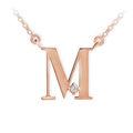 Zlatý dámský přívěsek DF 4518, písmenko M, růžové zlato, s řetízkem a briliantem