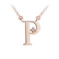 Zlatý dámský přívěsek DF 4521, písmenko P, růžové zlato, s řetízkem a briliantem