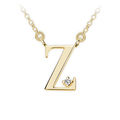 Zlatý dámský přívěsek DF 4531, písmenko Z, žluté zlato, s řetízkem a briliantem