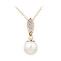 Zlatý dámsky prívesok DF 3152, ružové zlato, sladkovodné perla s diamantmi
