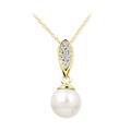 Zlatý dámsky prívesok DF 3152, žlté zlato, sladkovodné perla s diamantmi