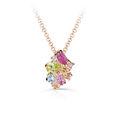 Zlatý dámsky prívesok DF 4947, ružové zlato, farebné kamene