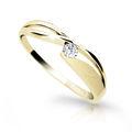 Zlatý dámsky prsteň Danfil DF1721 zo žltého zlata s briliantom