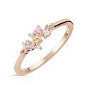 Zlatý dámský prsten DF 5036 z růžového zlata, barevné kameny