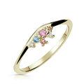 Zlatý dámsky prsteň DF 5039 zo žltého zlata, farebné kamene