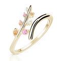 Zlatý dámsky prsteň DF 5061 zo žltého zlata, farebné kamene