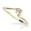 Zlatý prsteň DF 1082 zo žltého zlata, s briliantom