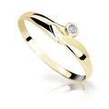 Zlatý prsten DF 1231 ze žlutého zlata, s briliantem